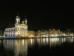 Lucerne by night (Rosmarie Wirz) Tags: panorama water reflections switzerland cityscape illumination bynight lucerne francisxavier reussriver festivemood jesuitchurch baroquefacade citylandmark blinkagain