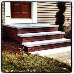 Granite tread 3 riser with brick