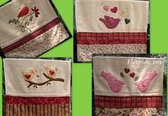 TOALHAS DE ROSTO (flavia_sm1963) Tags: patchwork bordado passarinhos toalhas aplicaçao toalhaderosto