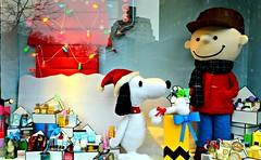 A CHARLIE BROWN CHRISTMAS (Joe Desiderio) Tags: reflections manhattan westvillage snoopy charliebrown storewindow cobigelowchemists christmas2012 picmonkey