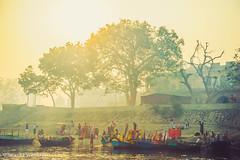 GRN_3060 (anantara) Tags: old india man yellow kids river boat town time prayer sadhu vrindavan yamuna templetilak