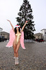 Micaela Schaefer dressed as Christmas angel at Brandenburger Tor gate on Pariser Platz square. Berlin, Germany