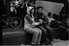 019-024-5 (Ari and the bear) Tags: street bw film analog montreal canona1 kentmere400 occuponsmontreal occupymontreal arianedepalacio