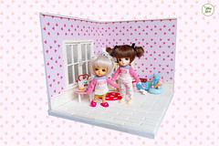 Little Sisters (Ylang Garden) Tags: lati white belle cute baby sister strawberry roombox dollhouse corner
