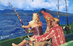Hawaii Is The Fisherman's Paradise (SwellMap) Tags: postcard vintage retro pc chrome 50s 60s sixties fifties roadside midcentury populuxe atomicage nostalgia americana kitsch animal animals wildlife pose posing fish fishing hunting