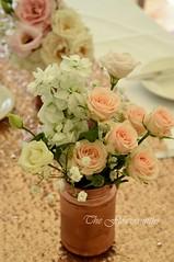 Marquee wedding tables (The Flowersmiths Wedding Flowers) Tags: theflowersmiths marqueeflowers tablearrangements kentweddingflorist centerpieces flowers peachroses summerwedding romanticweddingflowers nettlesteadplace receptionflowers