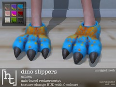 [ht:apparel] dino slippers (Corvus Szpiegel) Tags: hate this hatethis ht apparel original mesh material enabled normal specular genre prehistoric dino slipper soft fluffy fur hand painted texture claw paw plush footwear shoe home comfortable comfy lounge wear novelty fun slink flat feet foot fashion unisex man male men woman women female kids child children teen