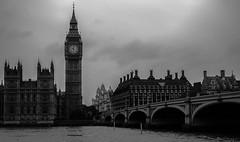 Big Ben Clock Tower (Deniz Kilicci) Tags: clocktower bigben sony a6000 london big ben tower clock uk selp18105g blackandwhite bw structure outdoor water riverside river thames bridge monochrome england
