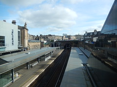 Haymarket station, 2016 Sep 17 (Dunnock_D) Tags: uk unitedkingdom britain scotland sky clouds station platform haymarket railway