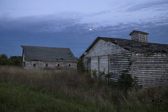 Rustic Old Barns (SteveFrazierPhotography.com) Tags: barn wooden old delapidated clouds trees treeline water reflections shore shoreline beautiful highway136 illinois il usa unitedstates america stevefrazierphotography evening dark moon night