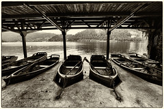 The Boat Shed, Lake Bled (mike.read44) Tags: lake bled slovenia boats blackandwhite water