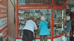 Southend On Sea (Michael McMillen) Tags: south end southend sea coast shop oap old lady ladies shopping trinkets trinket beach uk england analog analogue film photography street nikon nikonfm