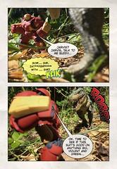 Iron Man unstuck... (Chris Blakeley) Tags: seattle hipstamatic ironman hulkbuster dinosaur toys disneyinfinity tyrannosaurus papo halftone