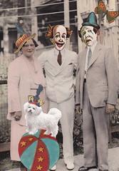 The New Neighbors (Angie Naron) Tags: art collage collagebyangienaron thekollagekit wwwkollagekitblogspotcom clown clowns beaclown alteredphotograph