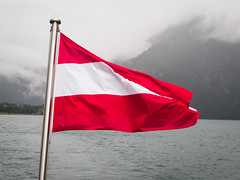 Pertisau July 2014 (Roger Hanuk) Tags: achenkirch achensee austria flag lake object red white ebenamachensee tyrol
