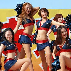 Cheer leaders (tanakawho) Tags: people woman girl smile basketball festival uniform leg dancer belly squareformat cheerleader pompom brose tanakawho weekendshowcase