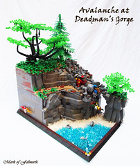 CCCX Avalanche at Deadman's Gorge (Mark of Falworth) Tags: trees mountain plant tree castle water landscape lego medieval ccc minifigs moc classiccastle