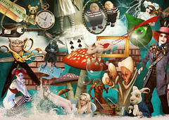 Alice (Dubus Laurent) Tags: light people eye art texture mushroom water tasse girl animal collage cat photoshop ball pig chat eau alice clown magic oeil card montage horloge animaux cochon numrique cadre lapi
