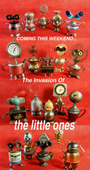 Invasion Of The Little Ones - assemblage sculptures - robots - Reclaim2Fame (Reclaim2Fame) Tags: sculpture altered silver tin robot little recycled assemblage mixedmedia small robots copper artdoll brass foundobject petite recycledmaterials dollparts upcycled