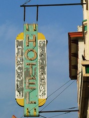 Lincoln Hotel Sign (Larry Myhre) Tags: sign montana neon butte faded lincolnhotel 2012roadtrip