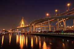 Bhumibol Bridge in Thailand1 (CHAIWATPHOTOS) Tags: road bridge sky urban detail building water architecture project river thailand evening bay design solar high twilight construction highway industrial commerce power view cross suspension bangkok scenic engineering cable landmark ring transportation freeway thai roller huge panels chao pylons coaster hang connection connect spans mega phraya bhumibol modernscene
