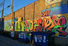 Garbage Bins and Art (Meggiemae67) Tags: chicago art graffiti village little littlevillage
