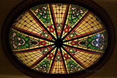 ~ heavenly glass art on the ceiling ~ (^i^heavensdarkangel2) Tags: art colorado sony perspective stainedglass lookingup durango glassart colorfulcolorado sonydslra380 desbahallison heavensdarkangel2 ihda~desbahallison celingart ceilingatthehistoricstraterhotel
