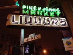 Jonesing (misterbigidea) Tags: sanfrancisco street city light red party urban signs building green sign pine night corner walking landscape jones store neon glow bright market walk drinking pedestrian pole lottery liquor alcohol booze grocery liquors lastcall nobhill intothelight jonesing mothtoaflame