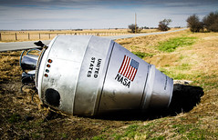 Space Capsule (photographyguy) Tags: oklahoma rural funny cementmixer americanflag nasa roadsideattraction spacecapsule lakeoologah winganon