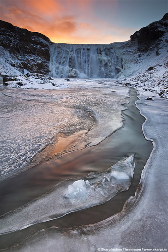 Frozen waterfall in Iceland