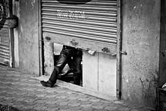 363/365. Is It Open? Pune Closed. (Anant N S) Tags: street blackandwhite bw india shop 50mm blackwhite nikon closed streetphotography nikkor mumbai pune balthackeray shivsena shutterdown nikond3000 lensor anantns thelensor anantnathsharma punebandh balthackeraydead