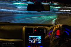 On the way to 4am (silentandy) Tags: blue blur car rain vw night speed project golf drops shot trails screen photographic incar lighttrails sat 4am windscreen collective nav walsall lichfield 4amproject