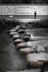 Step back in time (Charn High ISO Low IQ) Tags: longexposure bw rock stone wall canon eos canal stream seoul southkorea pse waterflow cheonggyecheon 600d