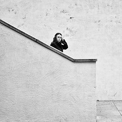 Down The Steps (Peter.Bartlett) Tags: street city people urban blackandwhite woman girl monochrome lady walking mono blackwhite unitedkingdom candid sony yorkshire steps leeds streetphotography nik alpha 700 westyorkshire blackwhitephotos sonyalpha streetphotographyurban alpha700 sonyalpha700 niksilverefex