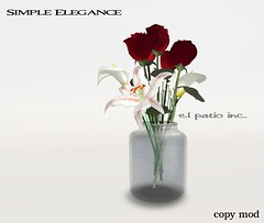 Simple Elegance ADcopy (El Patio Inc. (away)) Tags: christmas flowers roses home glass decoration sl secondlife jar vase decor elpatioinc