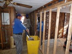 Removal of water damaged interior walls after Hurricane Sandy (The Trash it Man) Tags: hurricane cleanup howardbeach hurricanecleanup flooddamagecleanup hurricanesandy sandyaftermath hurricaneflooddamage