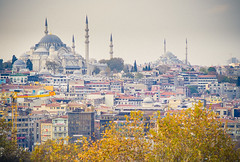 Istanbul skyline with Sehzade & Fatih mosques (miemo) Tags: city travel autumn tree fall leaves skyline asia europe cityscape towers istanbul mosque minarets fatih fatihcamii fatihmosque ehzadecamii ehzademosque