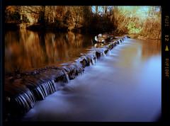Geese on the edge (brucemilburn) Tags: park 6 mamiya film diy geese waterfall long exposure fuji cross derbyshire velvia 55mm stop nd processing medium format 100 expired processed f28 markeaton polariser 645e