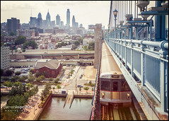 Philly ---> NJ (Darren LoPrinzi) Tags: city bridge motion philadelphia skyline train canon vintage newjersey cityscape nj gritty retro philly benfranklinbridge patco speedline leadinglines canon7d