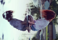 Through (Katharine Hannah.) Tags: summer sky selfportrait reflection water puddle mud bokeh muddywater drips splash redhair