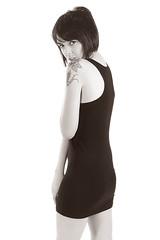 mimi (HouseofPIC) Tags: uk england woman colour sexy home girl beautiful beauty tattoo studio model nikon garage flash hampshire mimi backdrop highkey strobe elinchrom d90 dlite strobist
