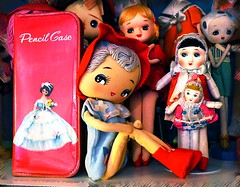 Pose Doll Pencil Case (DollyBeMine) Tags: eye fashion japan vintage pose japanese big wire mod 60s doll sitting display antique room collection bradley era blythe eyed 1960s cloth knee rare pencilcase sitter showa bunka hugger pencilbox poseable stockinette kneehugger shoua
