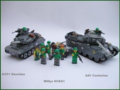 Brothers in Arms ([Maks]) Tags: car war tank lego jeep military models vietnam vehicles american british sheridan willys m38 centurion a41 moc m551