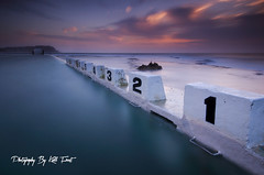 Six Minutes (Kiall Frost) Tags: ocean longexposure sun color colour pool clouds swimming sunrise newcastle australia diving numbers le baths nsw blocks merewether kiallfrost