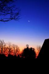 Night and Day (Allison Faust Branson) Tags: blue orange moon sunrise crescent