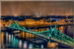 Budapest by Night (Der Michl) Tags: city bridge light sky water fog architecture night reflections river lights wasser europe exposure hungary nebel nacht budapest illumination beam stadt lon duna brcke fluss danube hdr beleuchtung lichter donau reflektionen libertybridge photomatix lichtkegel freiheitsbrcke tonemapped borderfx mygearandme mygearandmepremium mygearandmebronze mygearandmesilver mygearandmegold mygearandmeplatinum szabadsaghid besteverdigitalphotography