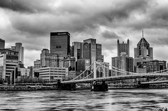 Panorama of the Pittsburgh skyline and Roberto Clemente Bridge from the North Shore B&W HDR (Dave DiCello) Tags: beautiful skyline photoshop nikon pittsburgh tripod usxtower christmastree mtwashington northshore northside bluehour nikkor hdr highdynamicrange pncpark thepoint pittsburghpirates cs4 ftpittbridge steelcity photomatix beautifulcities yinzer cityofbridges tonemapped theburgh clementebridge smithfieldstbridge pittsburgher colorefex cs5 ussteelbuilding beautifulskyline d700 thecityofbridges pittsburghphotography davedicello pittsburghcityofbridges steelscapes beautifulcitiesatnight hdrexposed picturesofpittsburgh cityofbridgesphotography