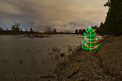 12-18-2012~Christmas Tree By the River (SimplyAmy74) Tags: christmas longexposure nightphotography light lightpainting painting washington spokane with nocturnal pacific northwest christmastree longshutter spokaneriver