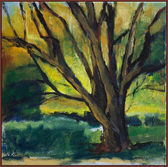 a tree (Jocawe) Tags: canoneos60d canon 1755 availablelight painting paintingpleinair canvas acryl tree square