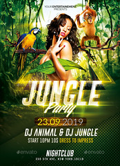 Jungle Party / Psd Poster Template (Rome Creation) Tags: africa animal beach brazil break exotic forest green jungle lightning music night outdoor palm party plants poster print rave sexy spring summer travel tribal tropical urban vacation wild wood zoo